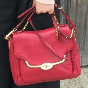 Coach Red Leather Crossbody Satchel